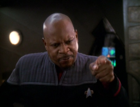 Sisko's had it up to here. This far and no farther... wait. Wrong captain.